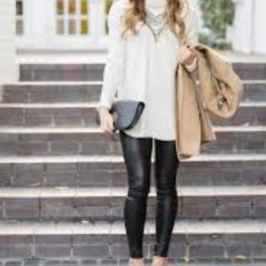 Assets by Spanx Black Faux Leather Leggings